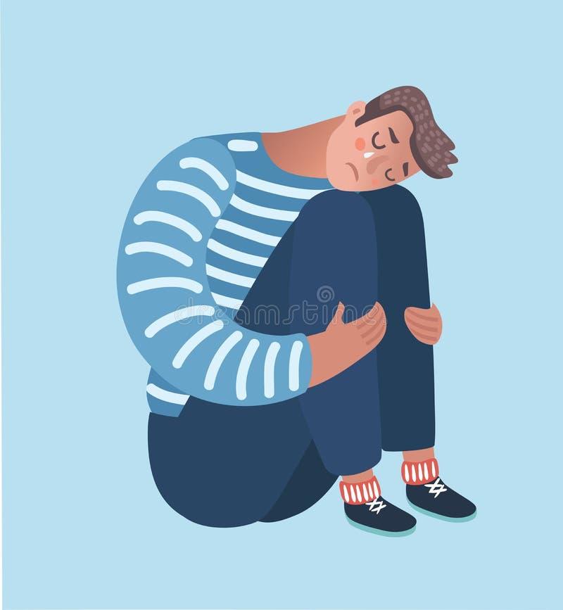 Отчаянное объятие человека его колено и выкрик сидя самостоятельно на поле на угле комнаты иллюстрация штока