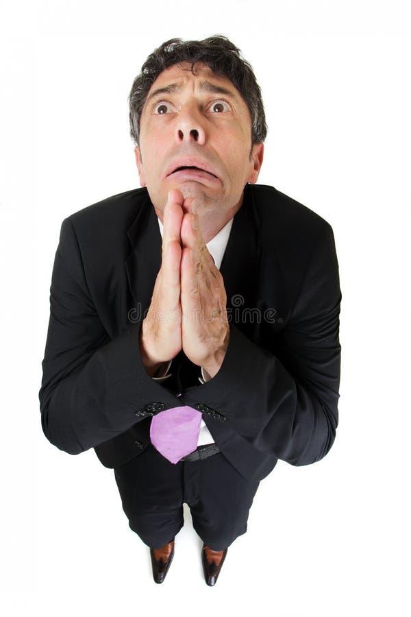 Отчаянный бизнесмен моля стоковое изображение