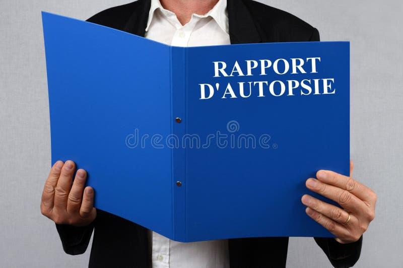 Отчет об аутопсии написанный во французском иллюстрация вектора