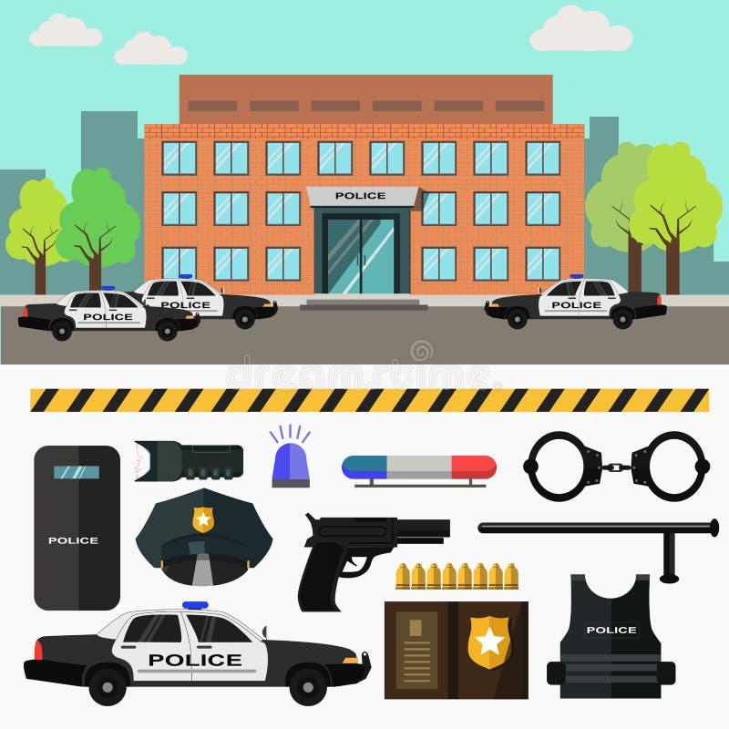 Отделение полици города также вектор иллюстрации притяжки corel иллюстрация вектора