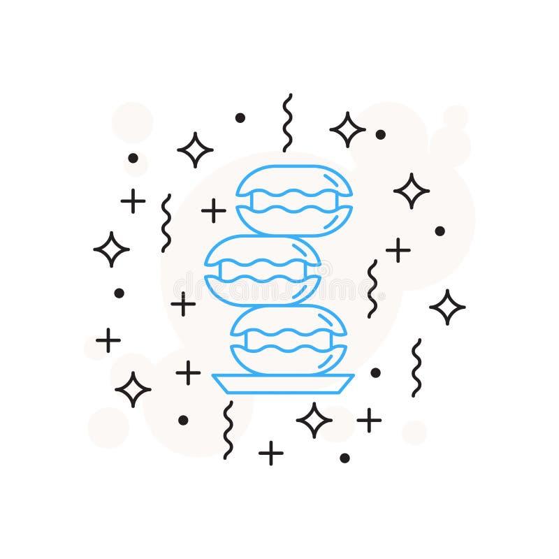 Отдельное печенье значка кофе нарисовано в линейном стиле на белой предпосылке с звездами, линиями, кругами иллюстрация штока