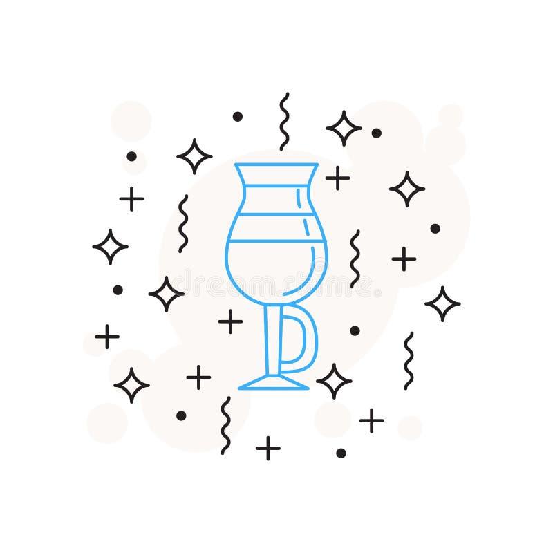 Отдельное стекло значка кофе latte нарисовано в линейном стиле на белой предпосылке с звездами, линиями, кругами бесплатная иллюстрация