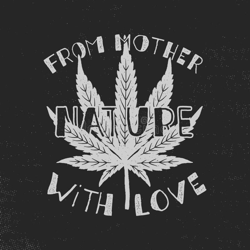 От матушка-природы с плакатом влюбленности Канада узаконивает концепцию С лист засорителя марихуаны Тема конопли введенное в моду иллюстрация вектора