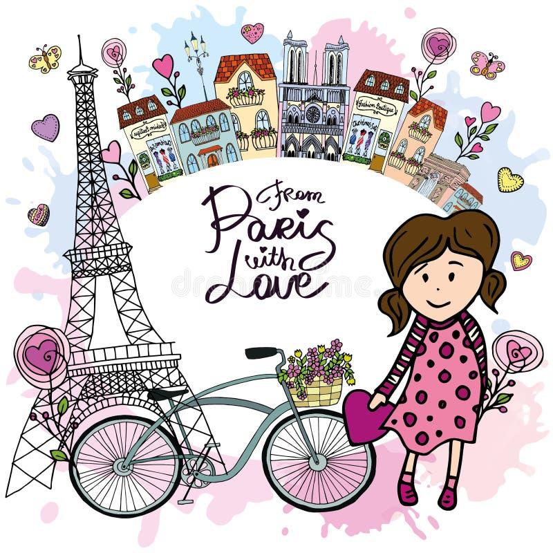 От Парижа с карточкой влюбленности иллюстрация вектора