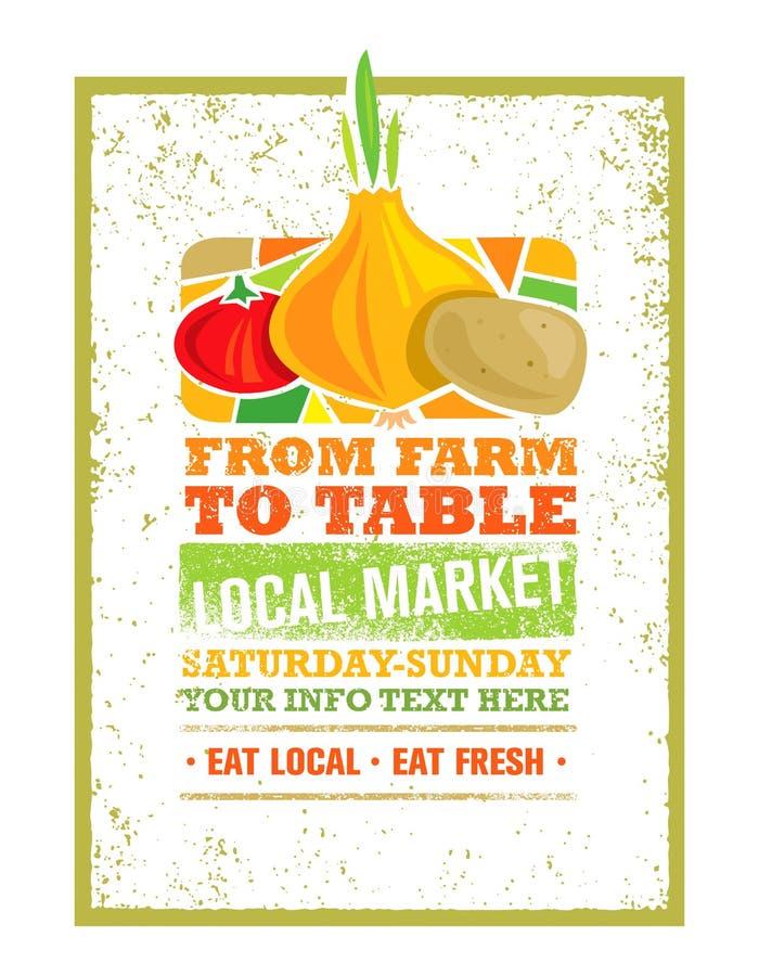 От фермы для того чтобы поставить свежую местную концепцию на обсуждение печати еды Творческое органическое знамя на предпосылке  иллюстрация вектора