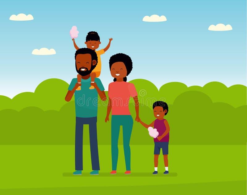 Отдых семьи Африканская семья в парке атракционов Семья идет в парк, детей есть конфету хлопка иллюстрация штока