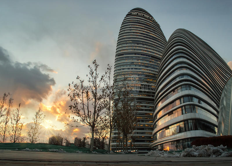 Офисное здание soho Wangjing, Пекин, фарфор стоковые изображения rf