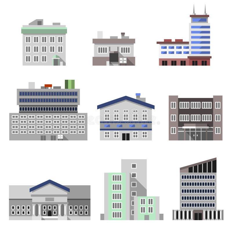 Офисные здания плоские иллюстрация штока