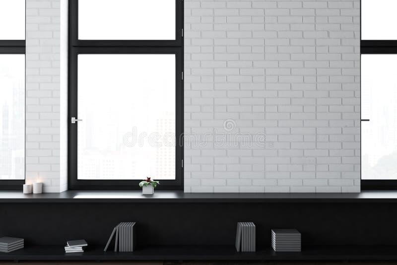 Офис белого кирпича пустой или живущая комната иллюстрация вектора