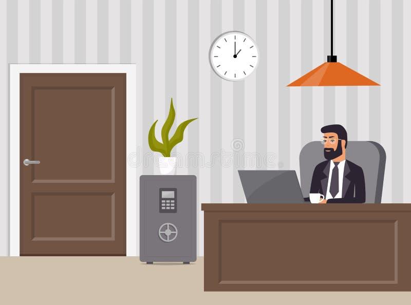 Офис вождя s Босс в костюме и стеклах, работая на ноутбуке Таблица, сейф, стул, в горшке завод, часы и лампа Интерьер офиса иллюстрация штока