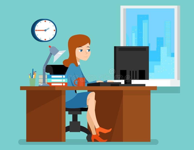 Офис женщины работая на столе с компьютером внутри бесплатная иллюстрация