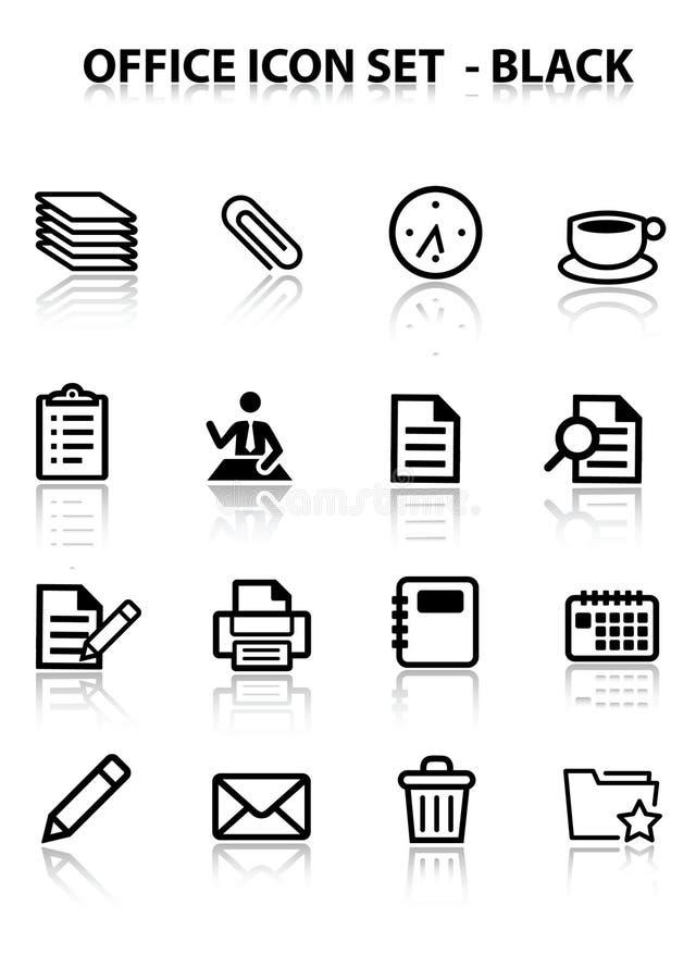 офис иконы отражает комплект иллюстрация вектора