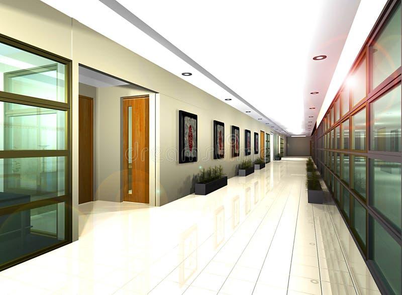 офис иллюстрации корридора компьютера 3d представляет стоковая фотография