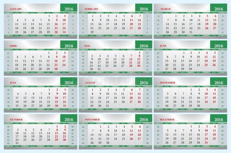 офис листа 2016 календарей бесплатная иллюстрация