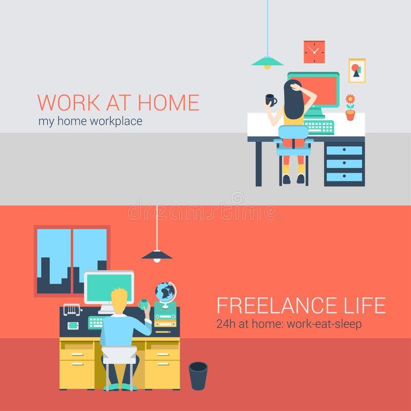 Офис и работать работа в концепции вектора мебели рабочего места бесплатная иллюстрация