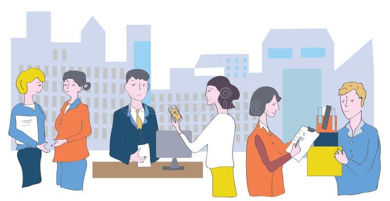 Офис и штат - встречи, переговоры иллюстрация штока