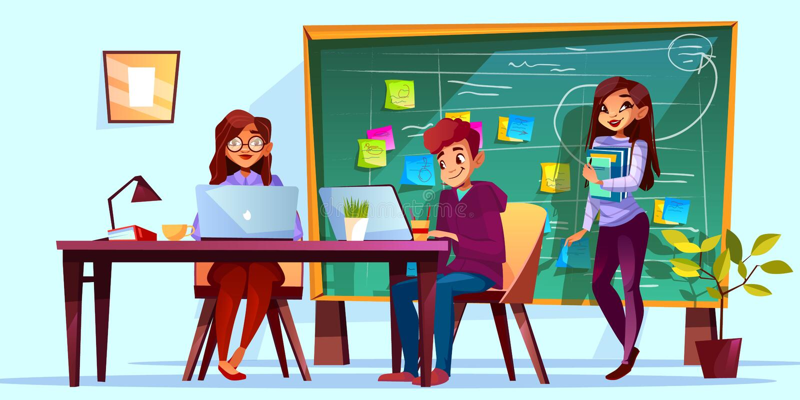 Офис команды и доска Kanban иллюстрация вектора иллюстрация штока
