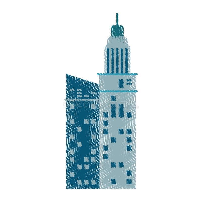 офис компании архитектуры здания чертежа иллюстрация вектора