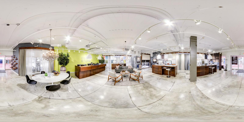 Офис работы Яблока vr 360 градусов стоковые фотографии rf