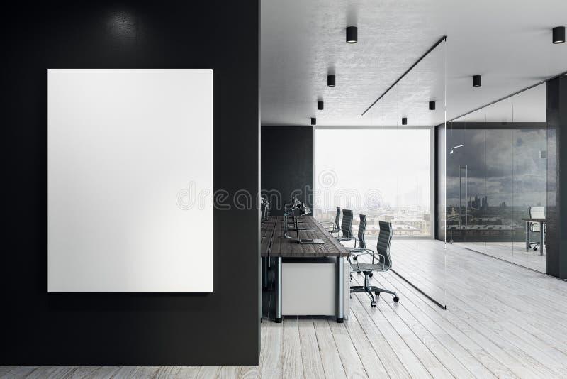 Офис Coworking с пустой афишей иллюстрация штока
