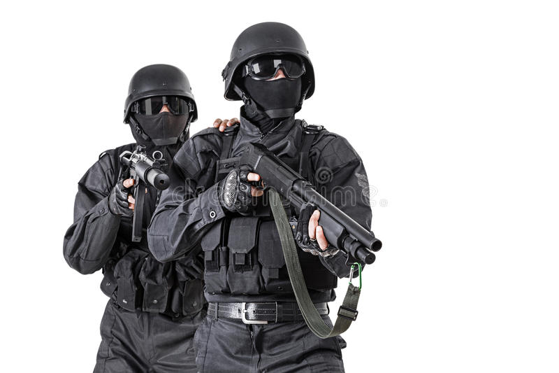 Офицеры СВАТ ops спецификаций стоковое фото rf
