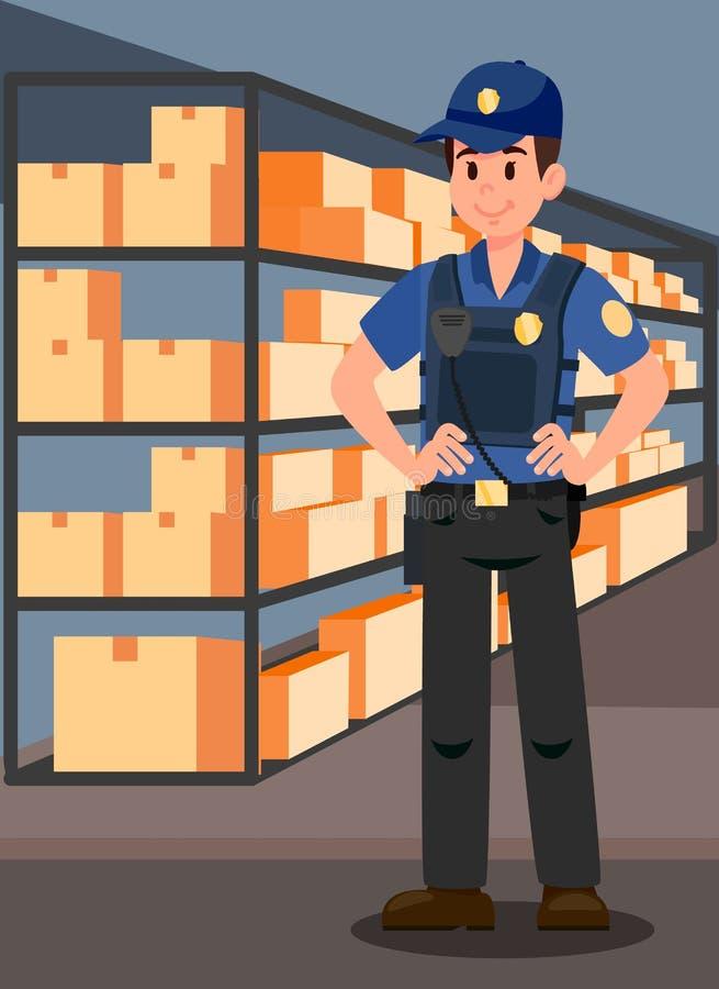 Офицер в иллюстрации вектора комнаты доказательства плоской бесплатная иллюстрация