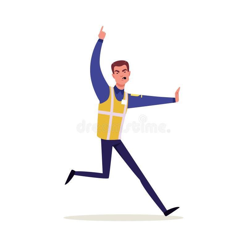 Офицер дорожной полиции в форме с высоким ходом и свистеть жилета видимости, характер полицейския на векторе работы иллюстрация штока