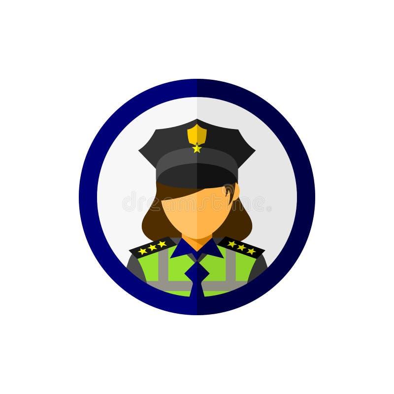 Офицер женщины полиции со значком круга иллюстрация вектора