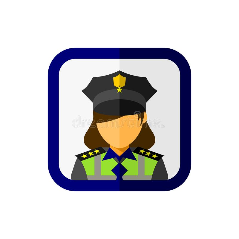 Офицер женщины полиции с квадратным значком иллюстрация вектора