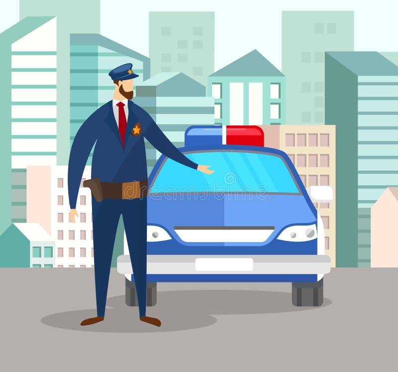 Офицер полицейския в равномерной стойке около полицейской машины иллюстрация штока
