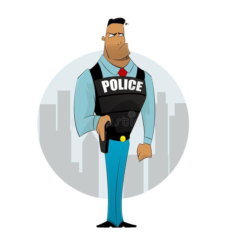 Офицер полицейския на предпосылке города иллюстрация штока