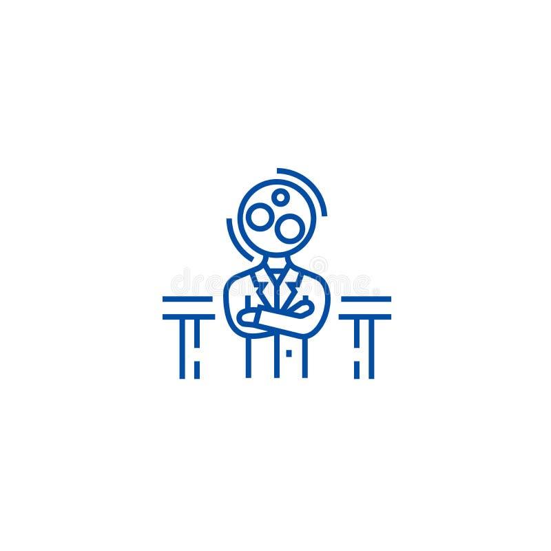 Офицер рекрутства, линия концепция менеджера аналитика значка Офицер рекрутства, символ вектора менеджера аналитика плоский, знак иллюстрация штока