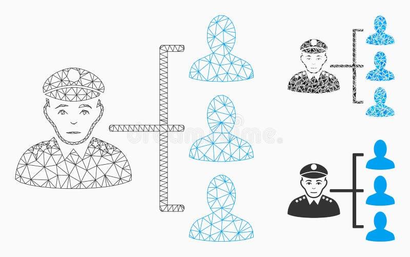 Офицер субординирует значок мозаики сетевой модели и треугольника ячеистой сети вектора иллюстрация вектора