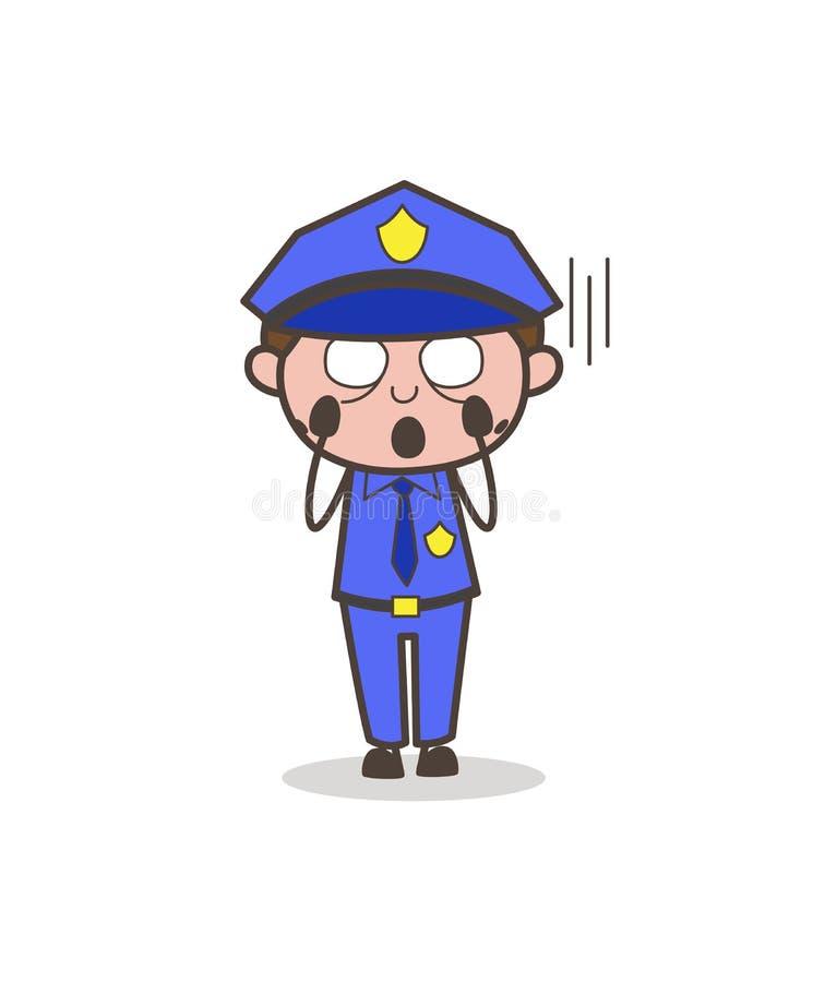 Офицер шаржа кричащий в векторе страха иллюстрация штока