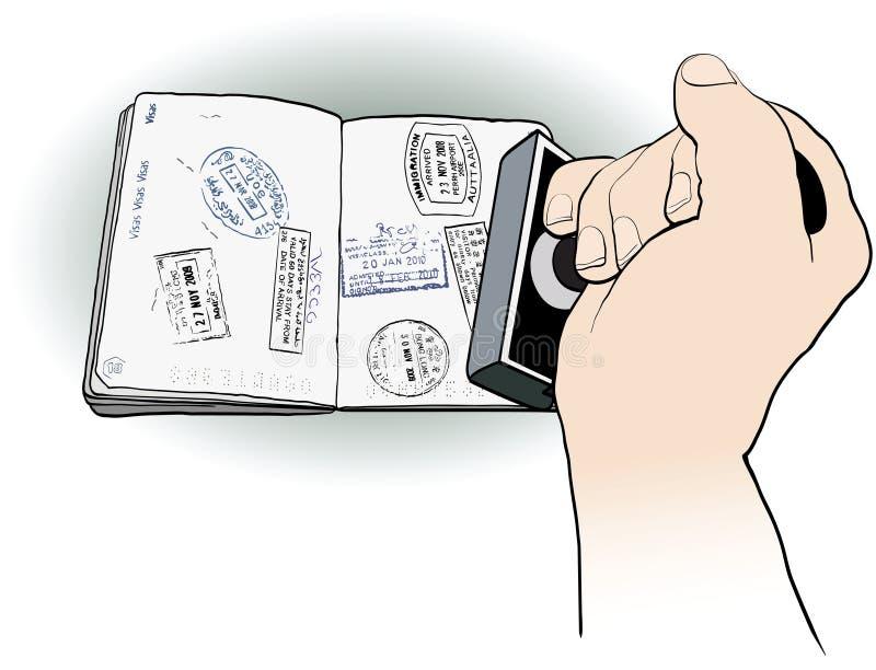 Офицер штемпелюя пасспорт иллюстрация вектора