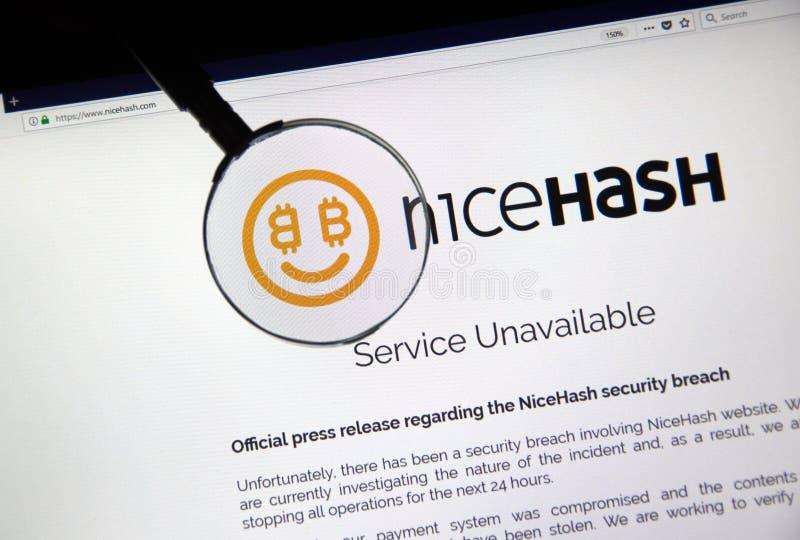 Официальное сообщение для печати нарушения требований безопасности Nicehash стоковые фото