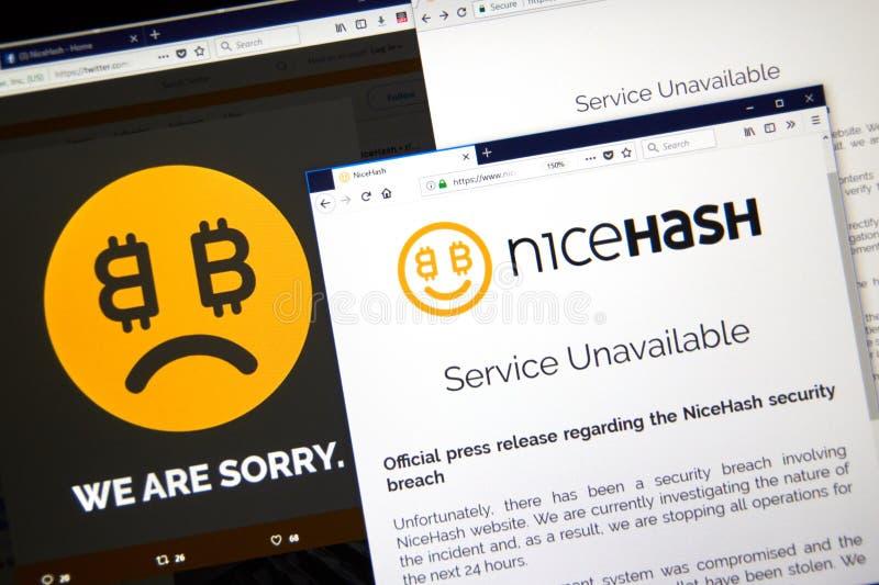 Официальное сообщение для печати нарушения требований безопасности Nicehash стоковое изображение