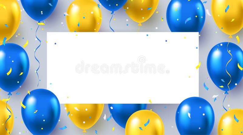 Официальный приветствуя дизайн в национальных голубых и желтых цветах с реалистическими воздушными шарами летая гелия бесплатная иллюстрация