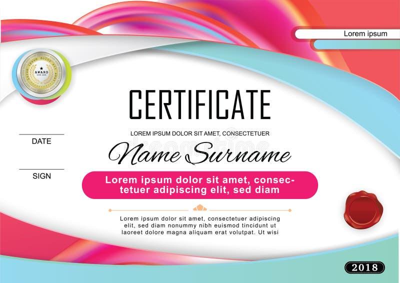 Официальный сертификат с значком и вафлей Яркие красные голубые абстрактные элементы дизайна на белой предпосылке Цветастый шабло иллюстрация штока