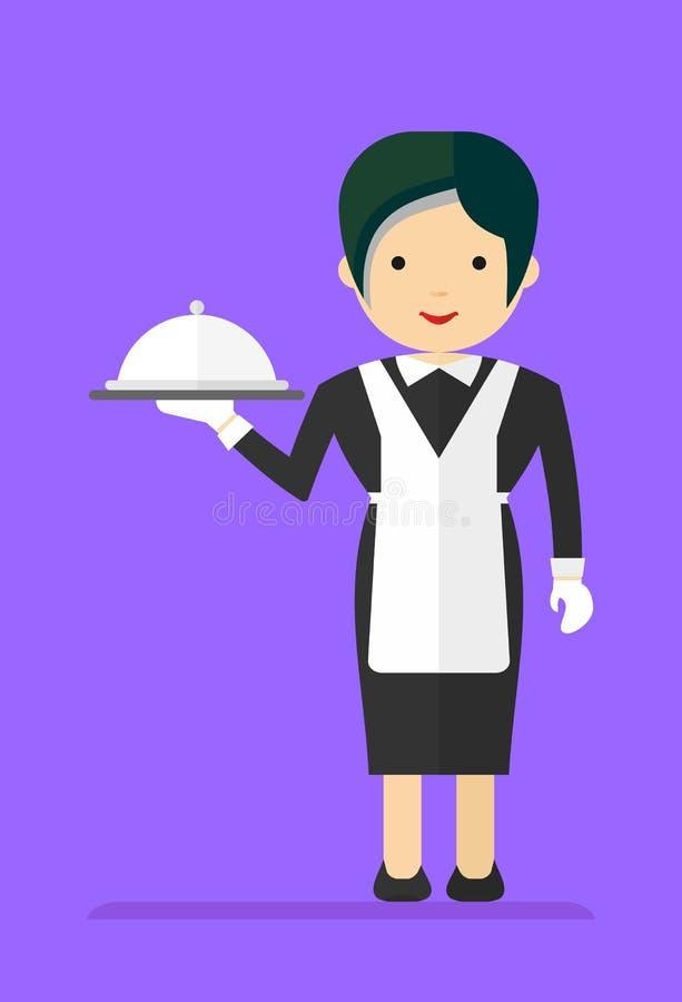 Официантка в черном платье иллюстрация штока