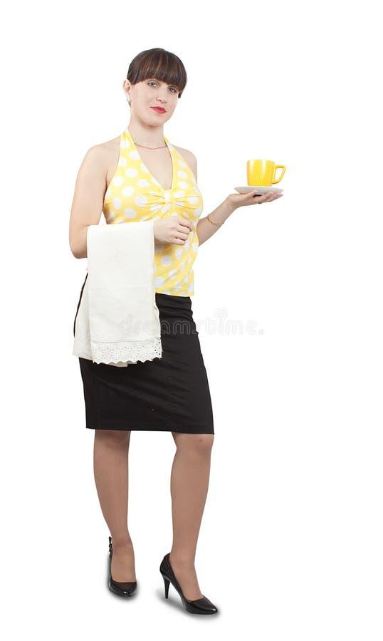 официантка девушки кофейной чашки стоковые фото