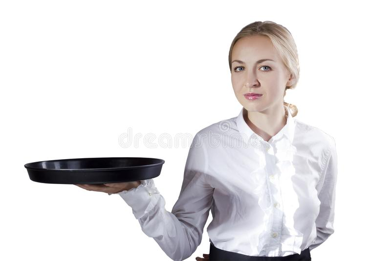 Официантка девушки с подносом стоковые фото
