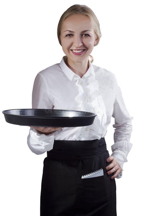 Официантка девушки с подносом стоковая фотография rf