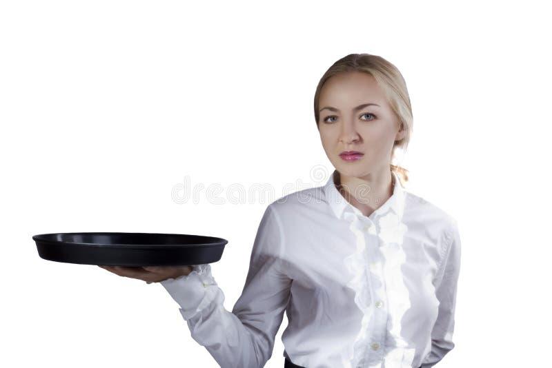 Официантка девушки с подносом стоковое изображение