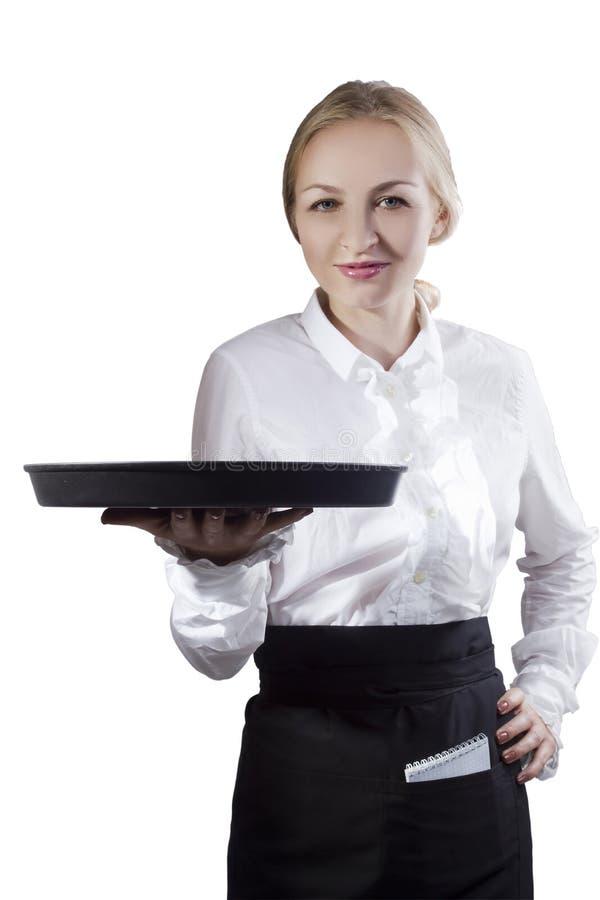 Официантка девушки с подносом стоковое изображение rf
