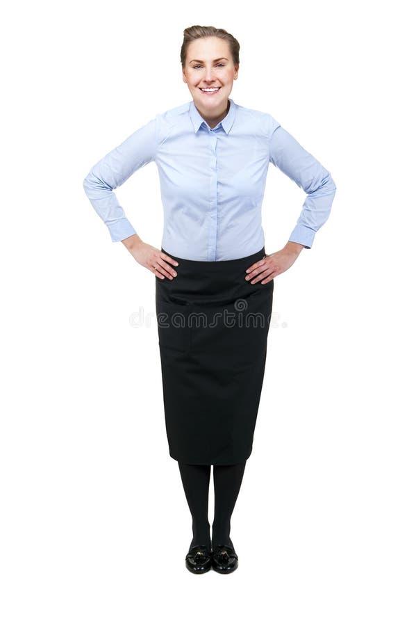 Официантка изолированная над белой предпосылкой белокурая ся женщина стоковые изображения rf