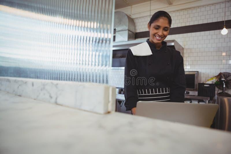 Официантка используя компьтер-книжку в кафе стоковое изображение rf