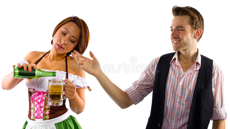 Официантка и клиент стоковые изображения rf