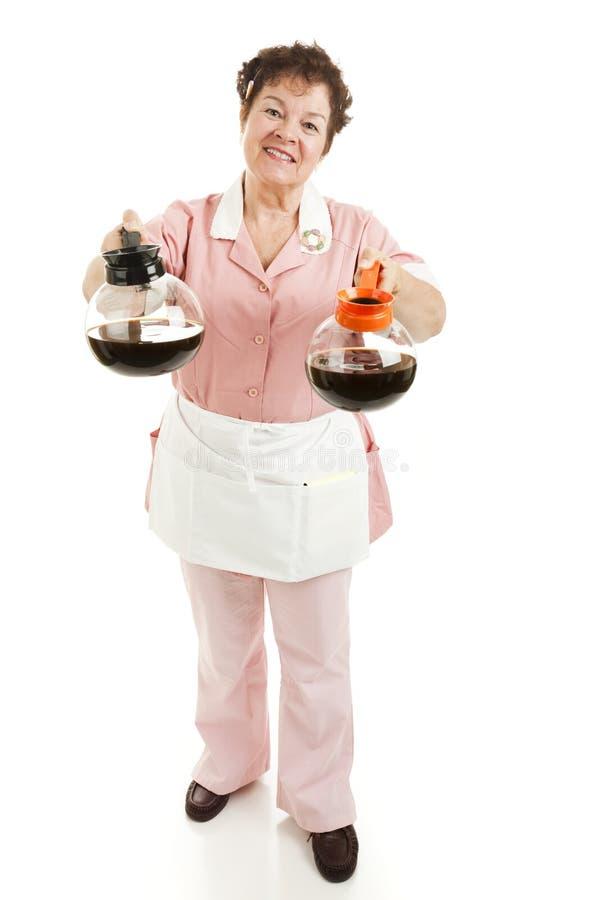 официантка постоянного посетителя decaf кофе стоковая фотография rf