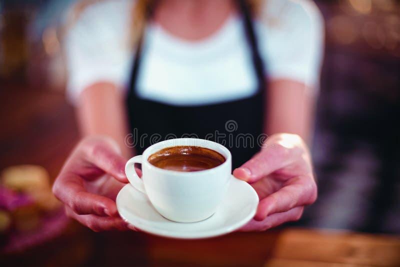 Официантка предлагая чашку кофе стоковые изображения rf